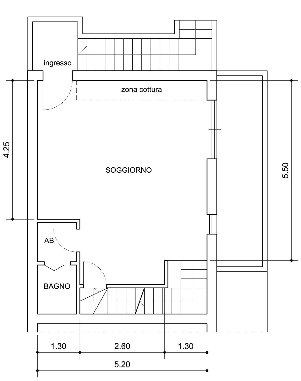 pianta e progetto di un living con cucina a vista