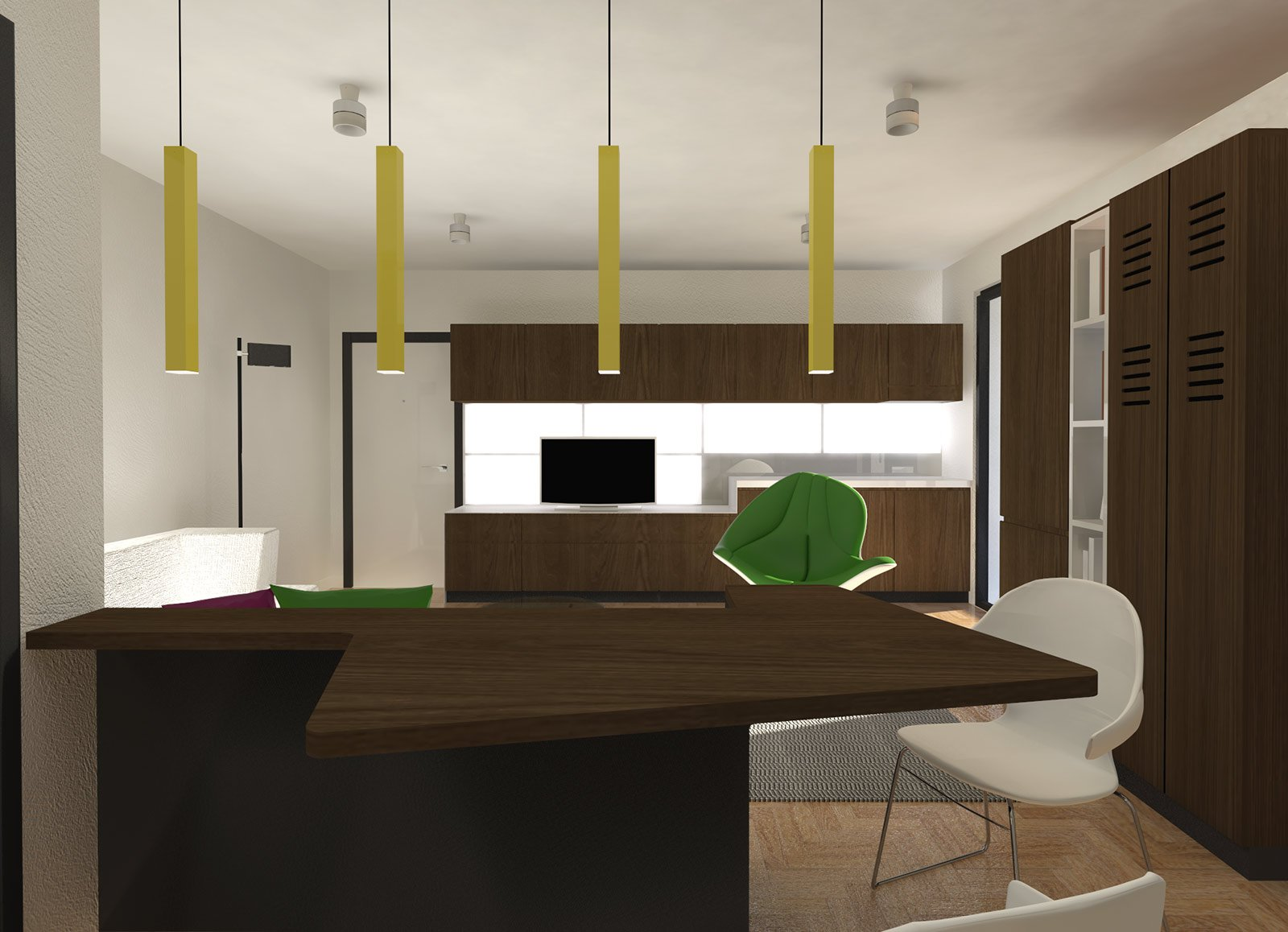 """Pianta e progetto di un living con cucina a vista """"invisibile"""" - Cose di Casa"""
