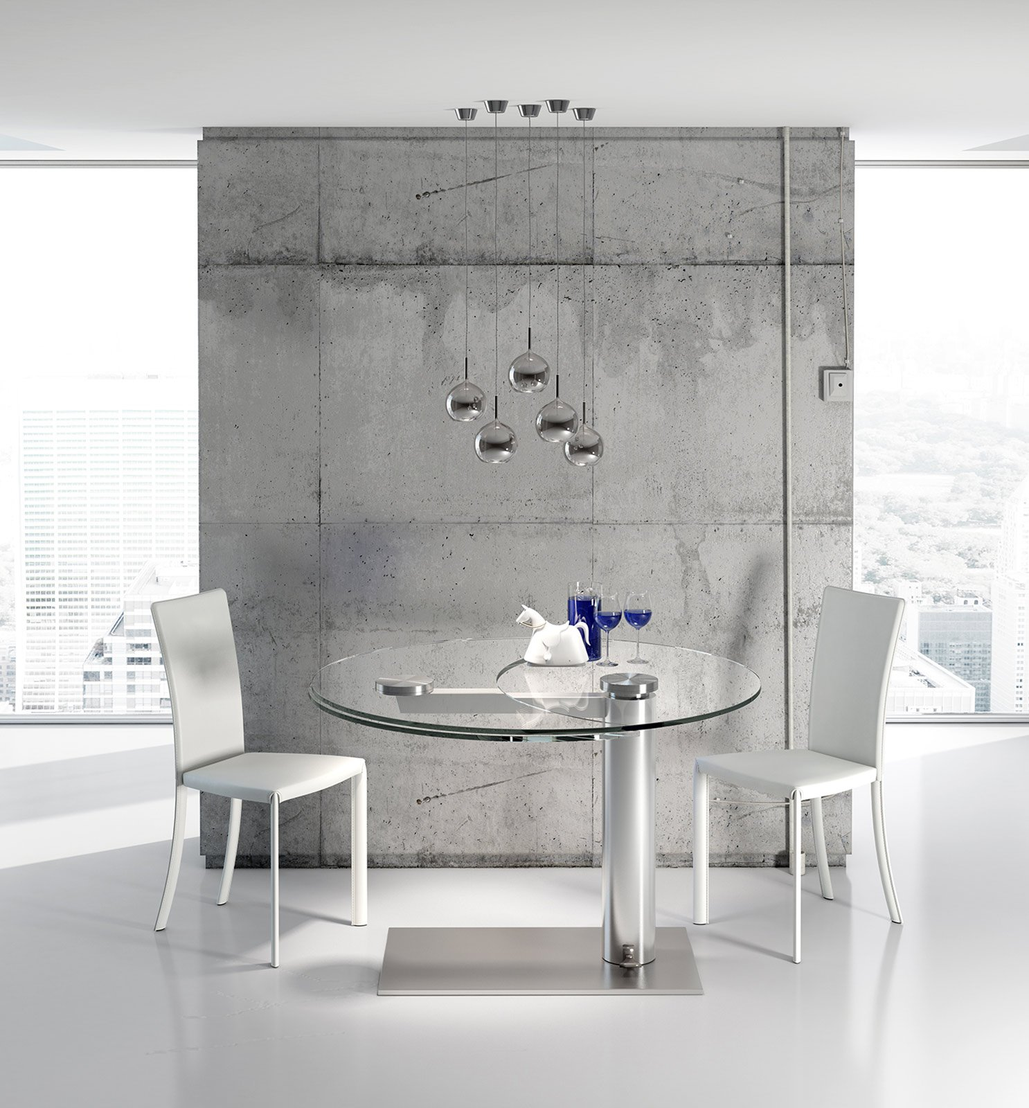 Tavoli rotondi e ovali design morbido minimal dinamico for Tavolo riflessi cristallo