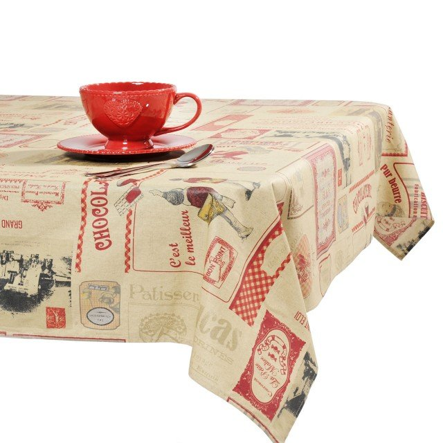 Look vintage per la tovaglia Biscotteria di Maisons du Monde, in tessuto misto lino e viscosa che riproduce un collage con etichette e marchi di pasticceria retrò. Misura 250 x L 140 cm. Prezzo: 59,90 euro www.maisonsdumonde.com