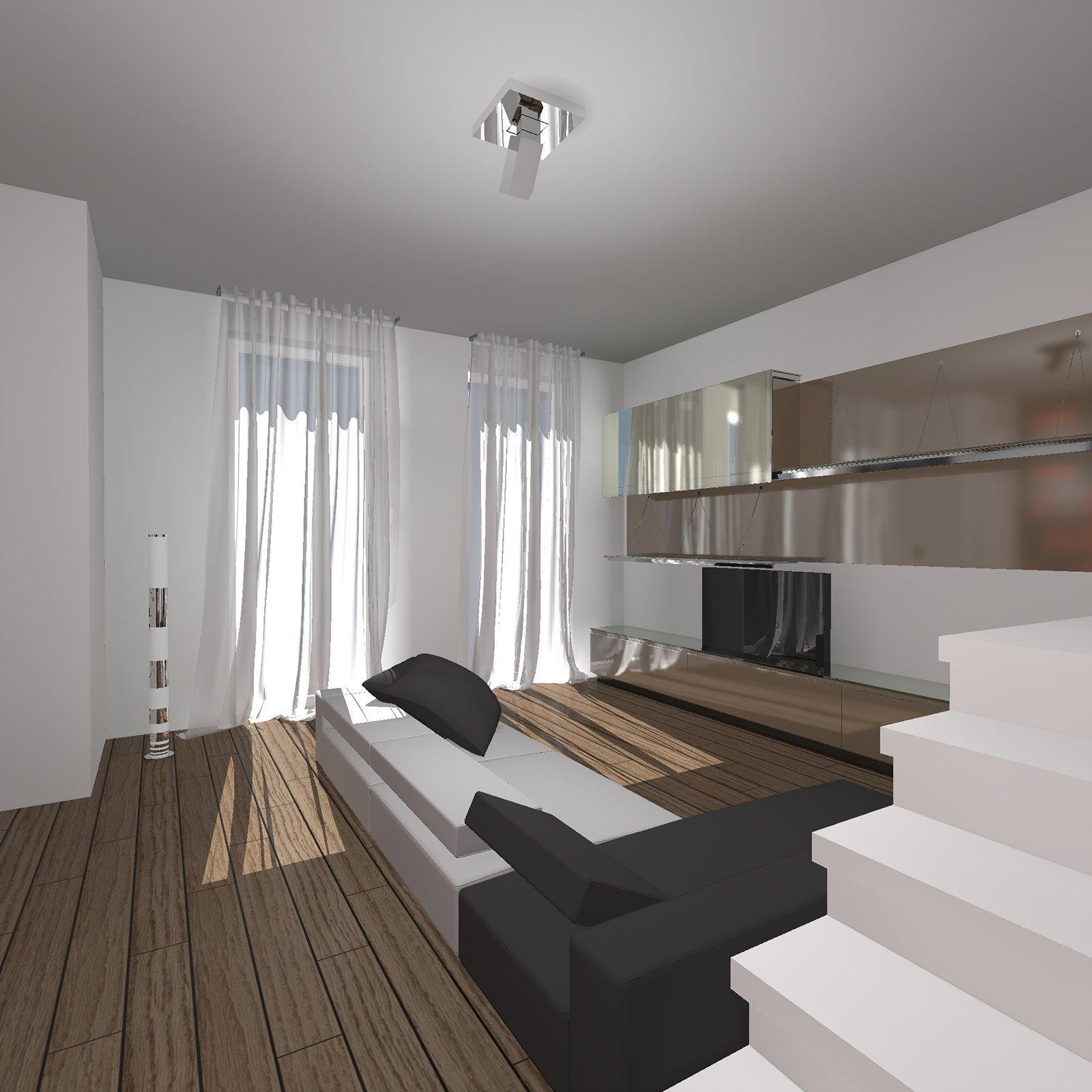 Zona giorno ad l con scala a vista cose di casa for Progetto zona giorno