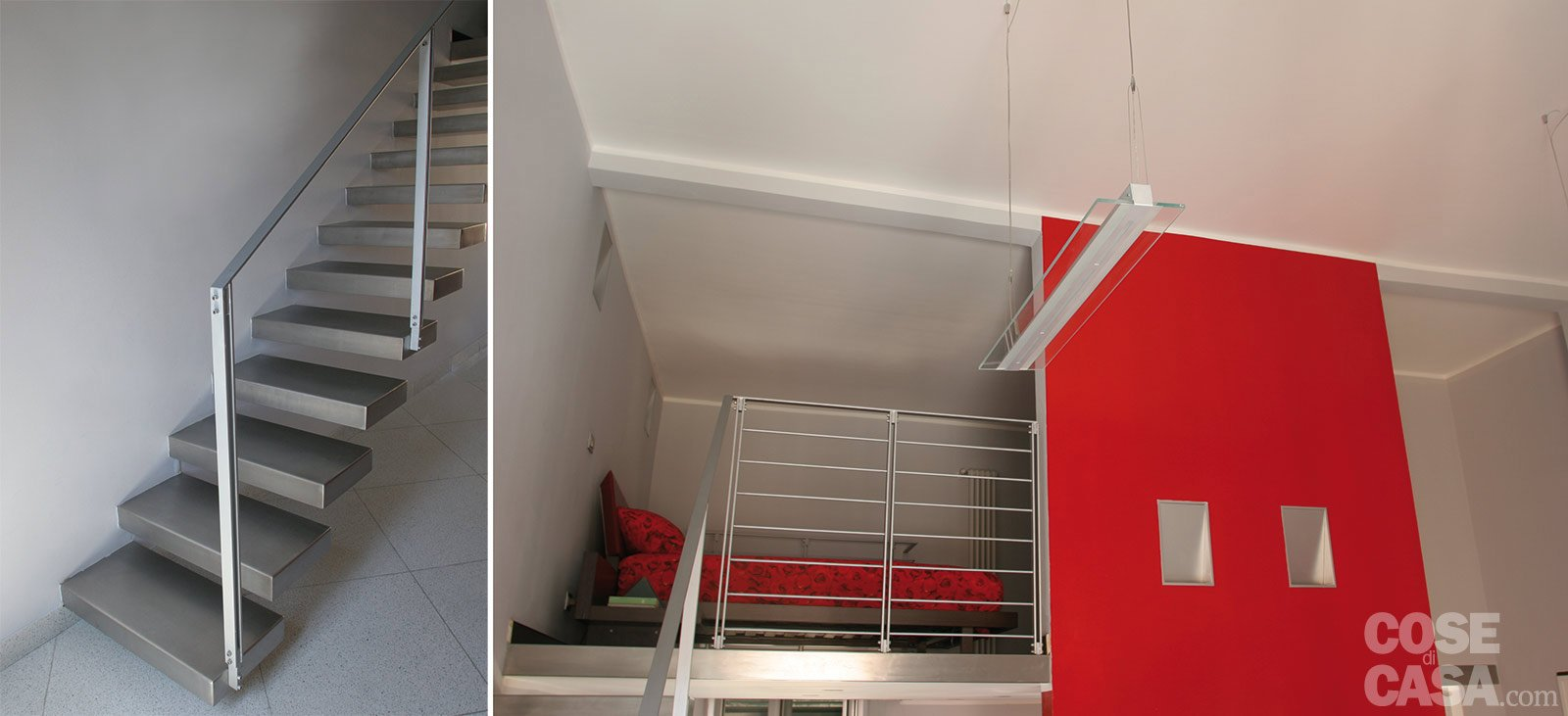 Una casa di 55 mq in rosso cose di casa for Soppalco d arredo normativa