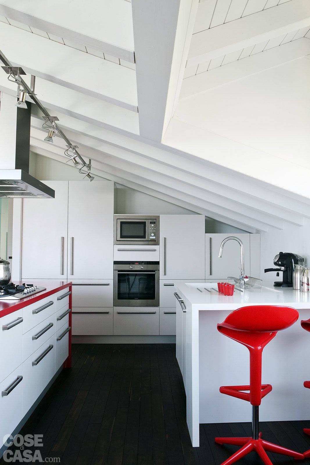 Volumi bianchi in mansarda per avere pi luce cose di casa - Cucine in mansarda ...
