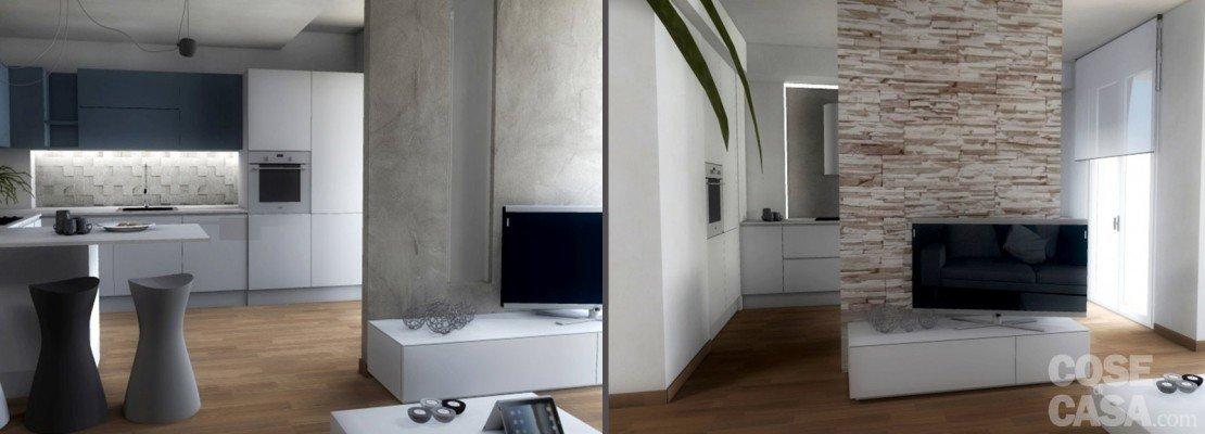 Progetti: due soluzioni per un living con piante e prospetti in 3d ...