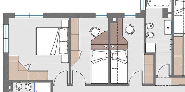 Ricavare una camera in più (da 3 a 4). Il progetto con le piante