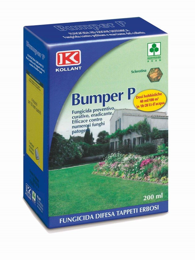 Bumper P è un fungicida ad attività preventiva, curativa ed eradicante, efficace contro numerosi funghi come l'elmintosporiosi, l'antracnosi. il marciume rosa, l'oidio e le ruggini. Conf. da 200 ml 26,30 euro di Kollant - www.kollant.it