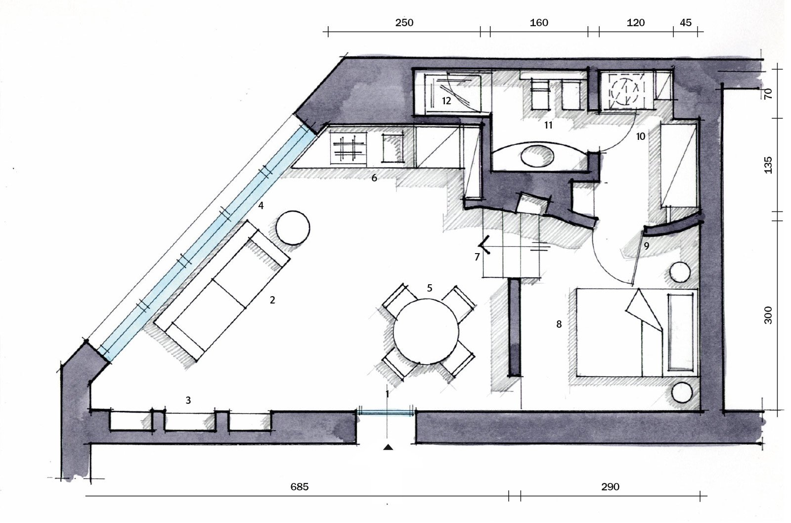 Una casa mini con curve e nicchie risolutive cose di casa for Piani di un appartamento di efficienza di una camera da letto