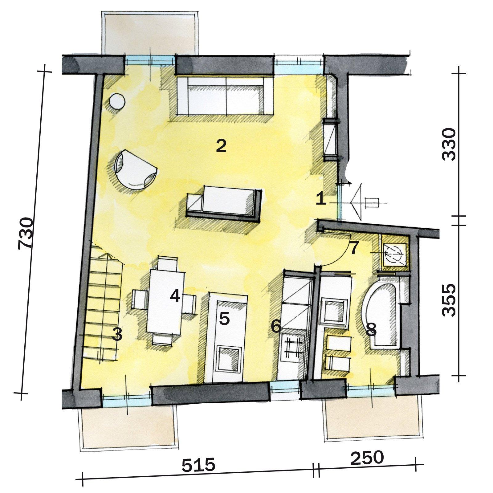 Una casa di 55 mq in rosso cose di casa for Planimetrie case moderne