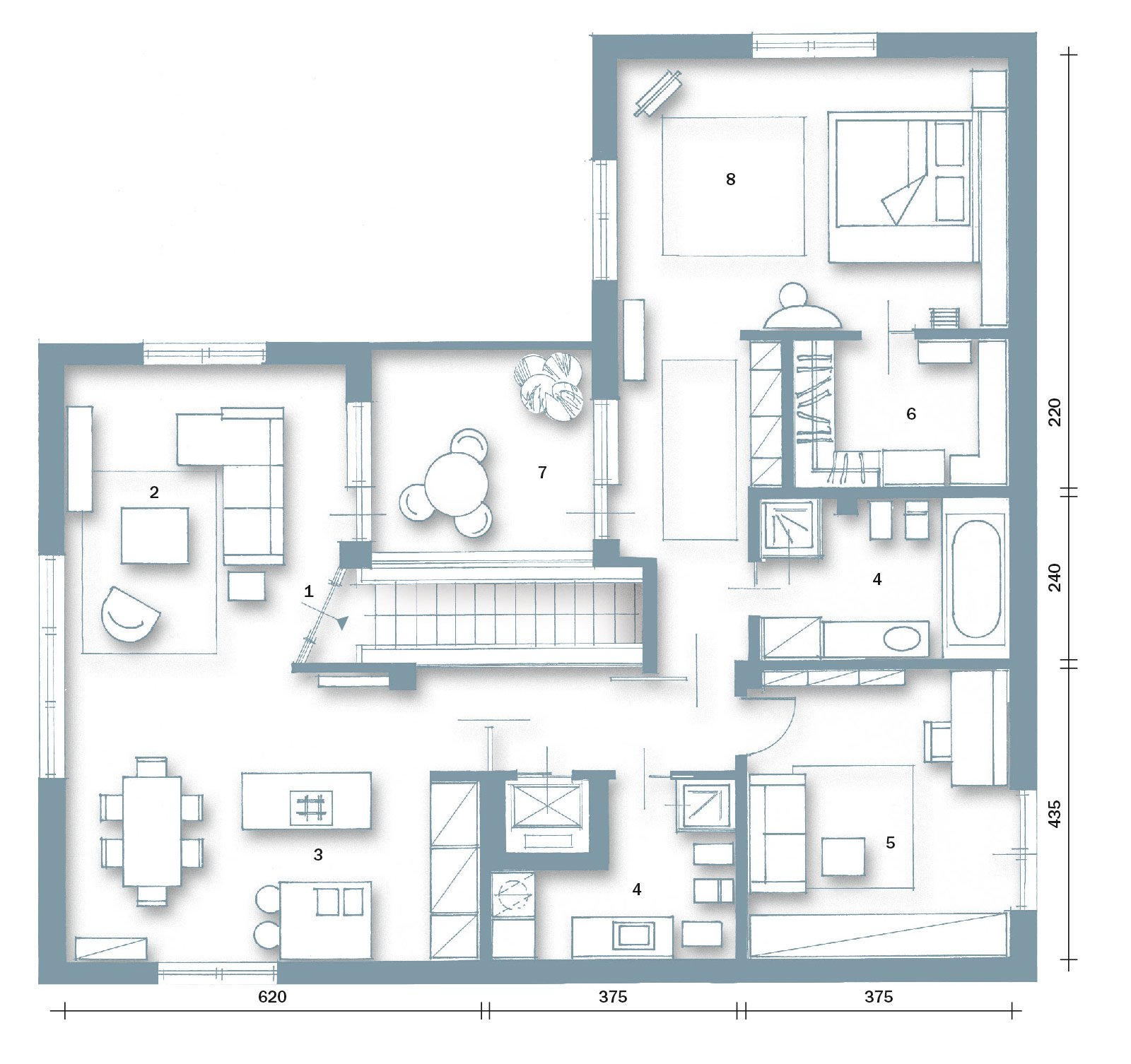 Volumi bianchi in mansarda per avere pi luce cose di casa for Casa moderna pianta