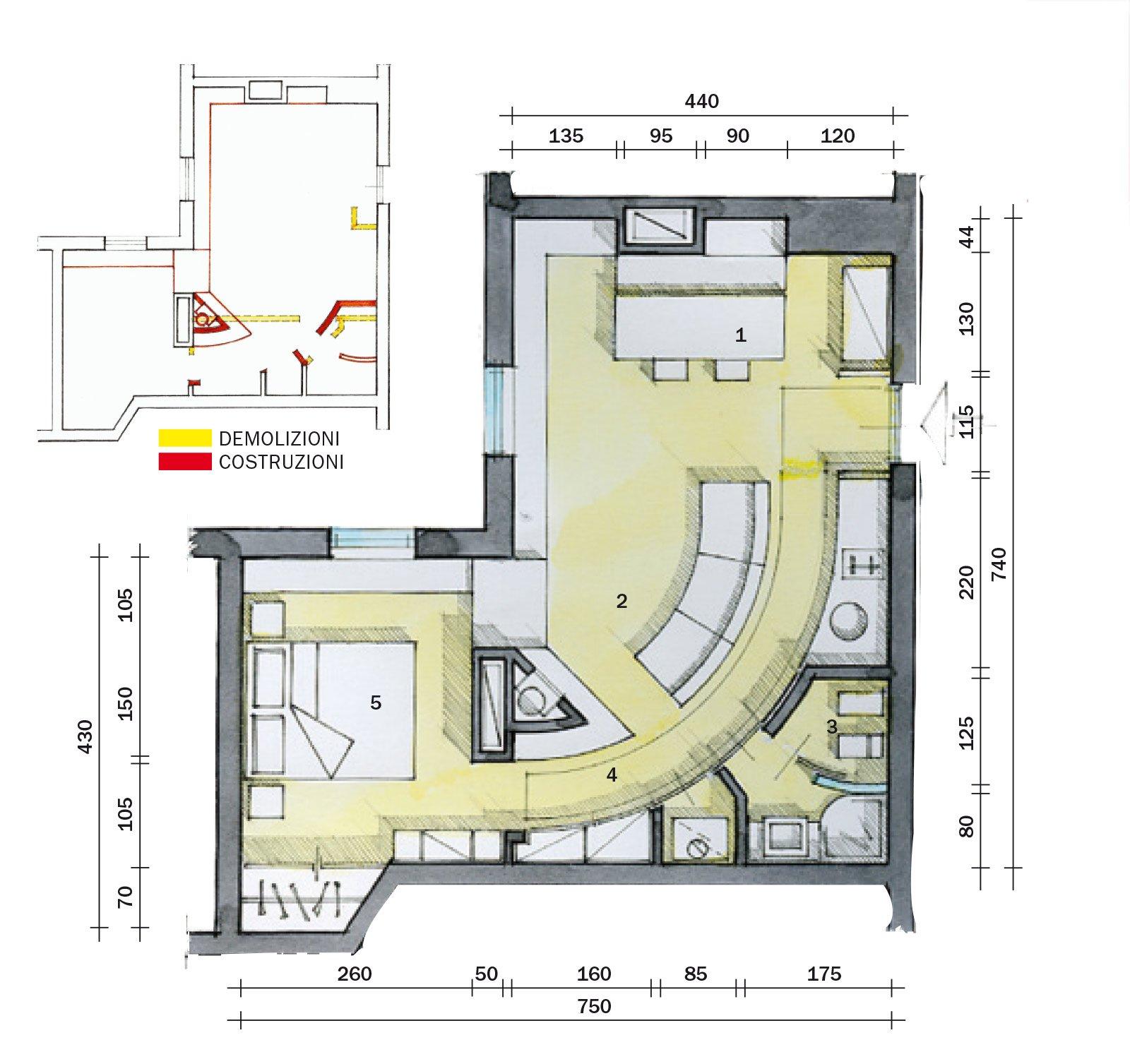 45 mq una casa in bianco e rosso cose di casa - Planimetria casa 60 mq ...