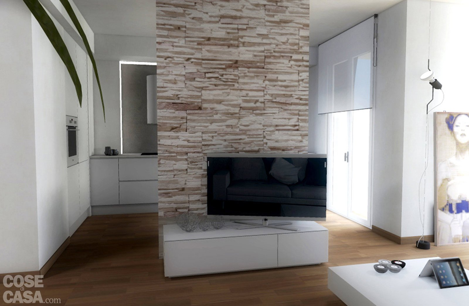 Progetti due soluzioni per un living con piante e prospetti in 3d cose di casa - Cucine aperte sul soggiorno ...