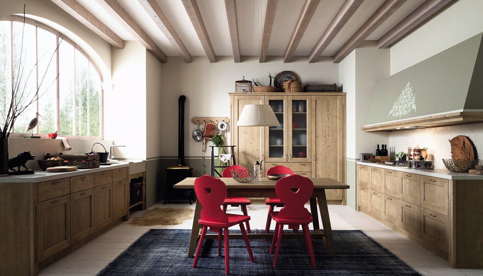 Da Fiaba Per Tabià Di Scandola La Cucina In Legno Massello Di  #A82337 1600 917 Foto Di Lampadari Per Cucina