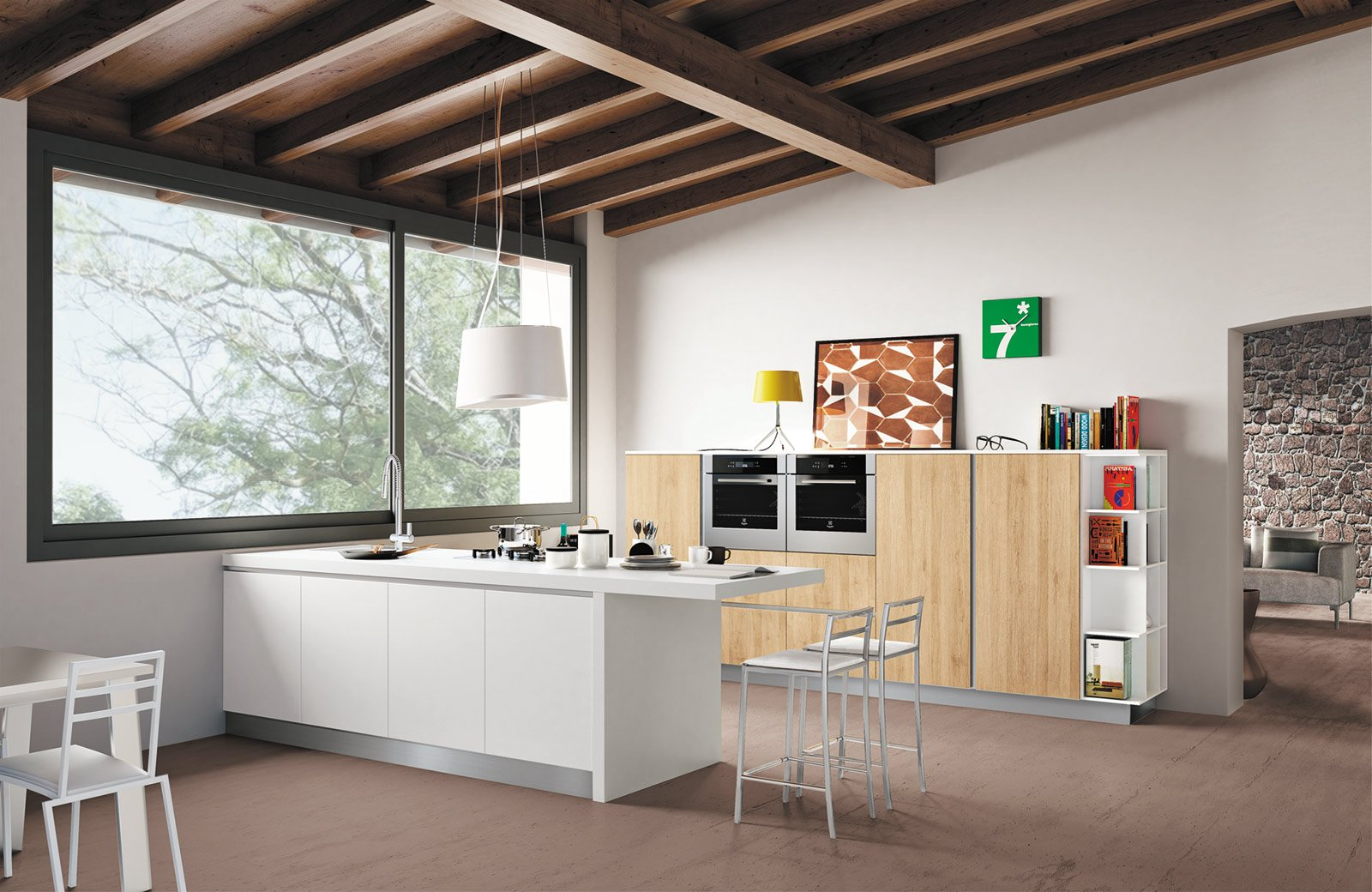 La cucina con l 39 isola monocromatica o bicolore cose di casa - Bancone cucina legno ...