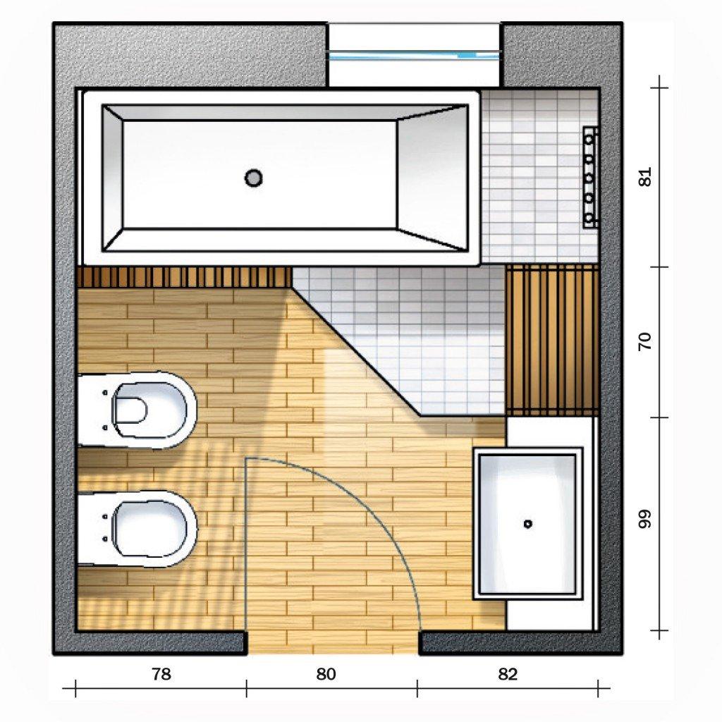 Bagno con pianta del progetto e costi dei lavori terza soluzione cose di casa - Misure bagno minimo ...