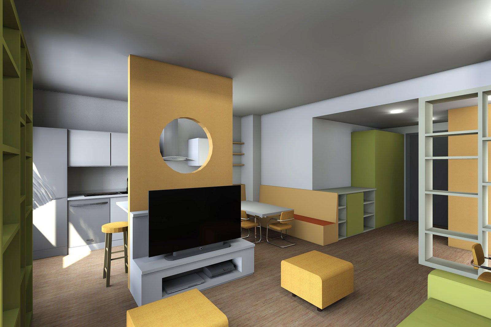 Soggiorno con cucina a vista pianta e prospetto in 3d for Arredare soggiorno cucina