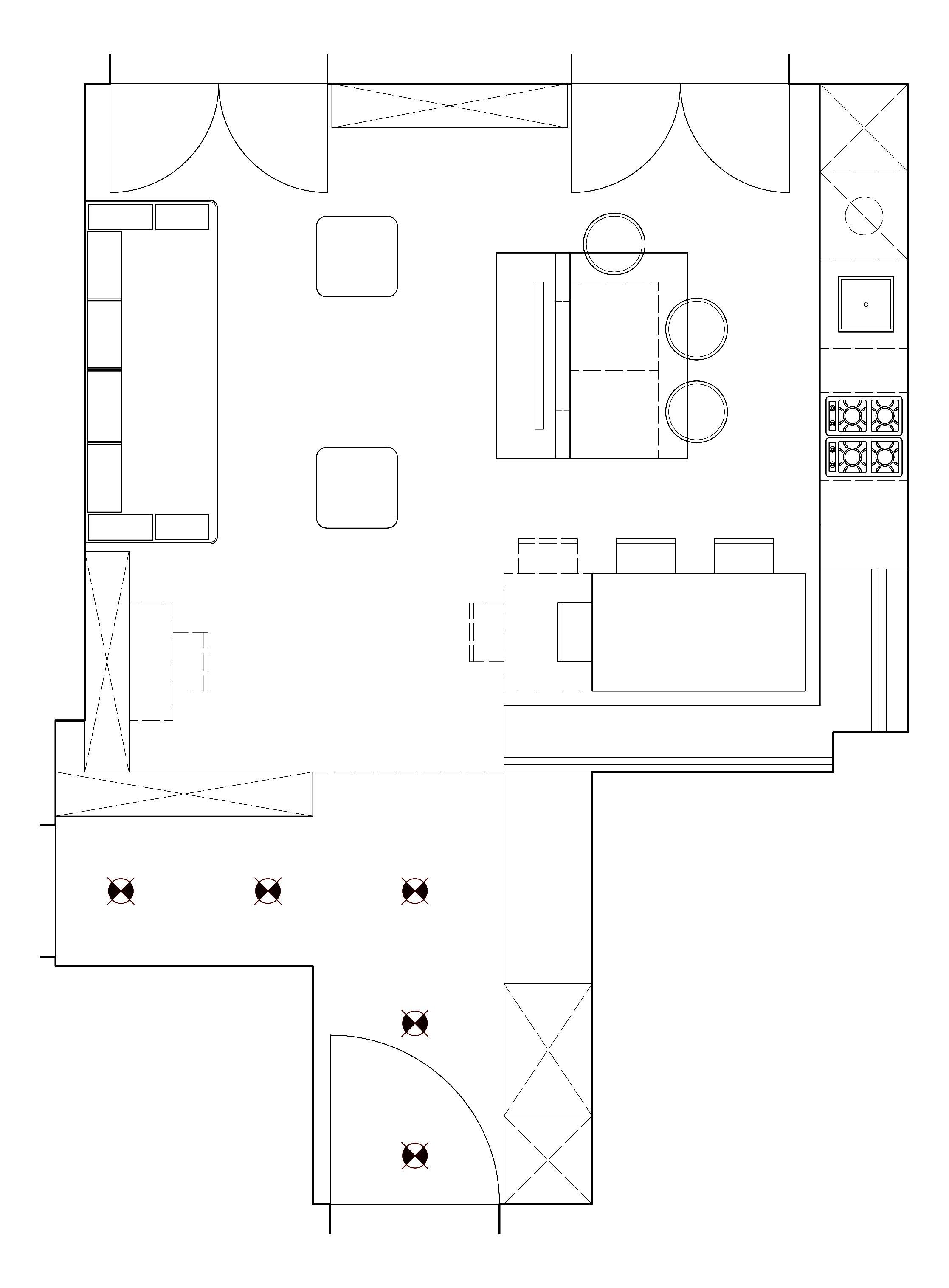 Soggiorno con cucina a vista pianta e prospetto in 3d - Pianta di una cucina ...