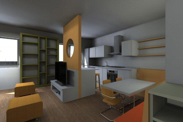 soggiorno con cucina a vista. pianta e prospetto in 3d - cose di casa - Soggiorno E Cucina A Vista 2