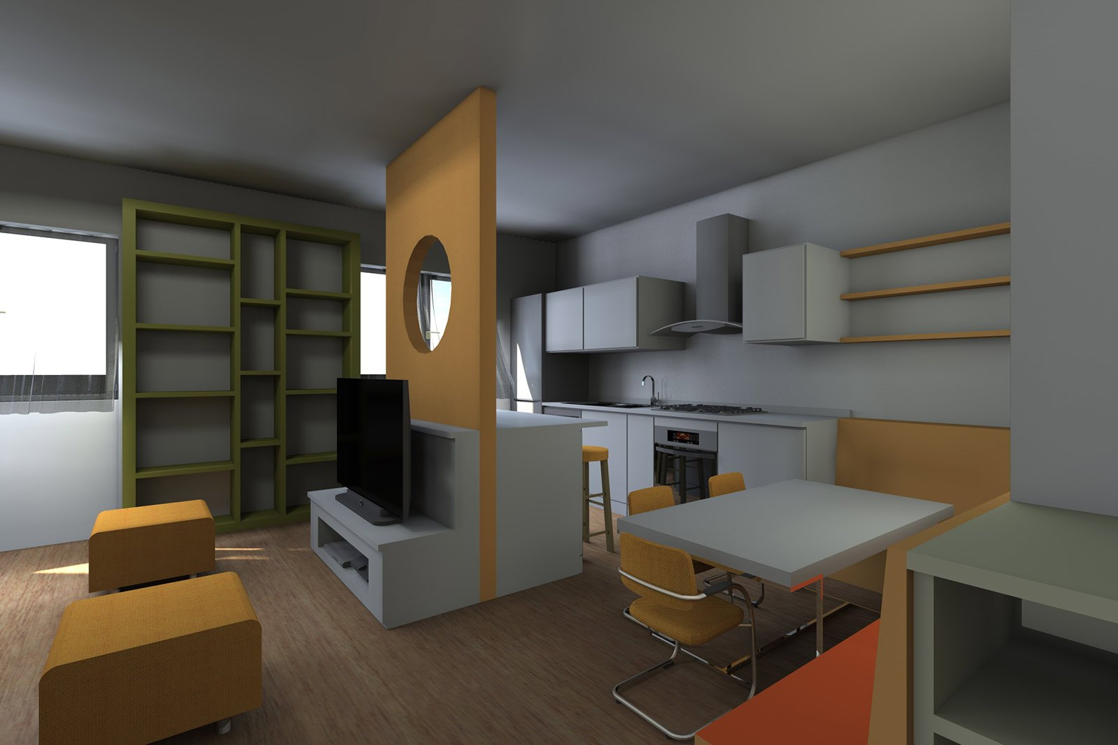 Soggiorno Con Cucina A Vista. Pianta E Prospetto In 3D Cose Di Casa #6A482C 1600 1067 Come Arredare Un Ambiente Unico Cucina Soggiorno