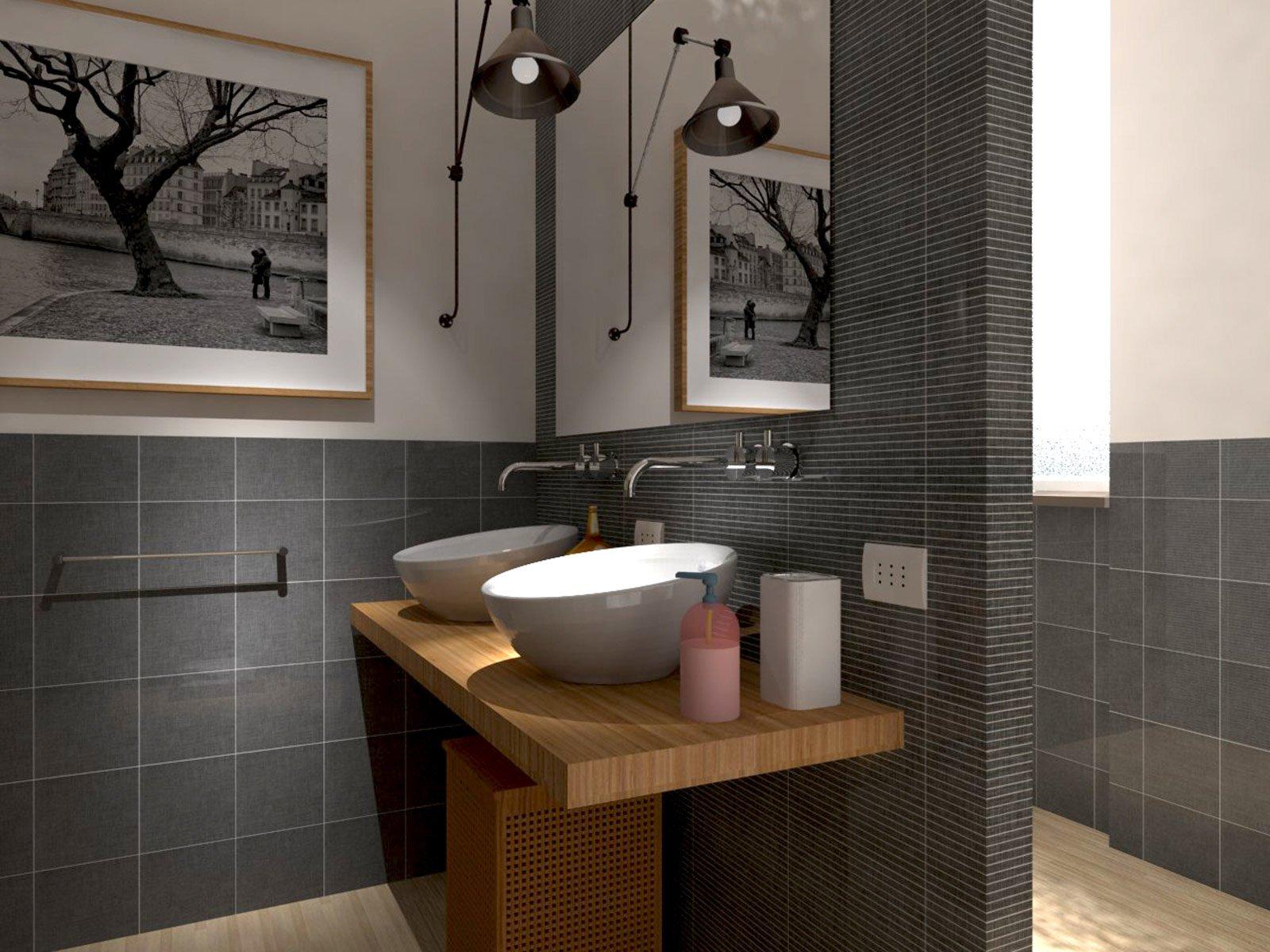 Rifare il bagno progetto in 3d con lavatrice nascosta for Progetti bagni moderni