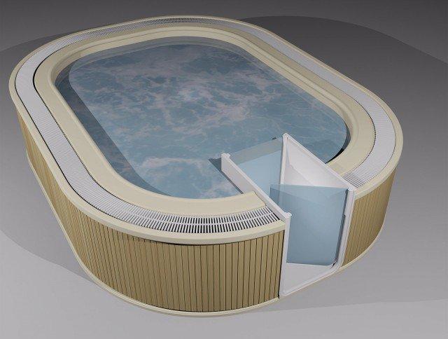 Può avere l'accesso facilitato la minipiscina da esterno Miami di Busco con due porte, una esterna e una interna: l'acqua che invade l'apposito compartimento quando si è aperta la porta interna viene aspirata in 30 secondi da una pompa che la reimmette nella piscina. Con 23 getti idromassaggio è dotata di 10 posti. Realizzata in vetroresina, ha pannellatura in piccole doghe in materiale plastico color wengè o panna. È disponibile in tre misure differenti, quella in foto misura L 300 x P 400 x H 90 cm. Prezzo su preventivo. www.busco.it