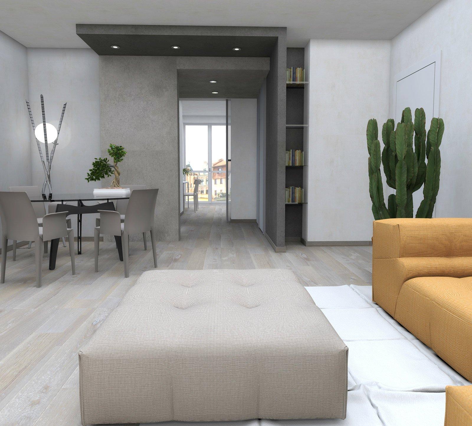 Zona giorno contemporanea. Progetto con pianta e prospetti in 3D - Cose di Casa