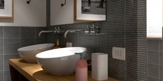 """Rifare il bagno. Progetto in 3D con lavatrice """"nascosta"""""""