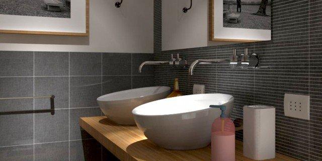rifare il bagno progetto in 3d con lavatrice nascosta