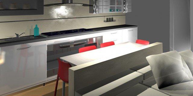 Dall\'ingresso, un living con cucina. Pianta e prospetti in 3D - Cose ...