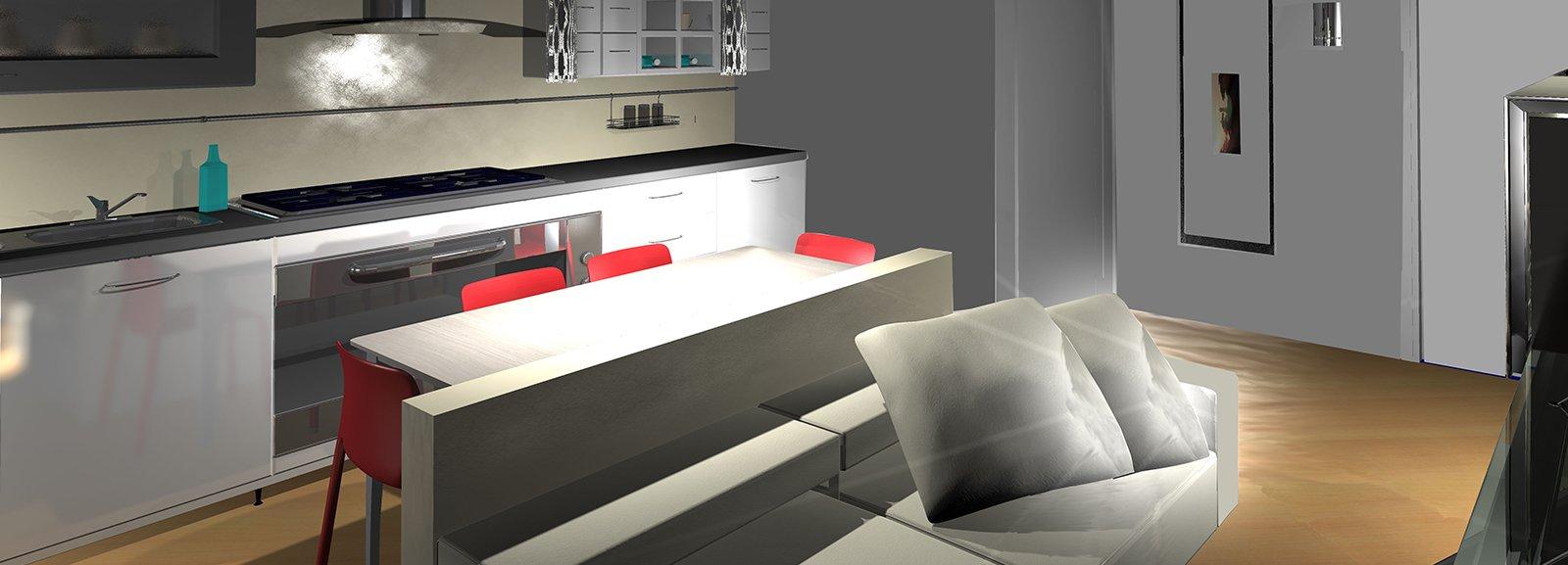Dall 39 ingresso un living con cucina pianta e prospetti in for Foto di case a pianta aperta