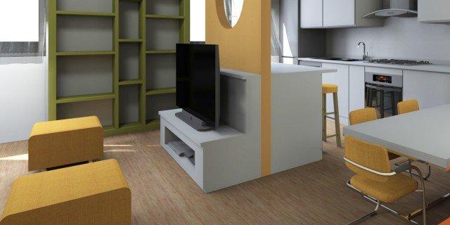 Soggiorno con cucina a vista pianta e prospetto in 3d for Foto di cucina e soggiorno a pianta aperta