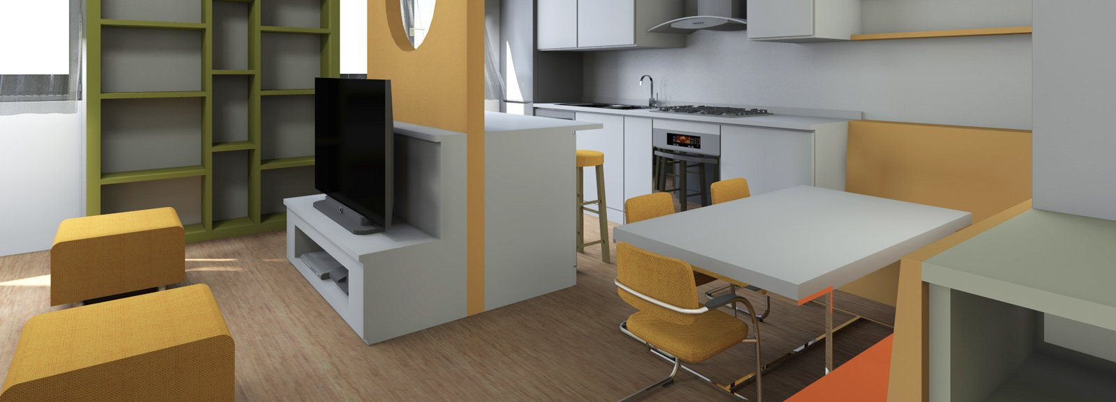 Soggiorno con cucina a vista pianta e prospetto in 3d for Arredare 3d