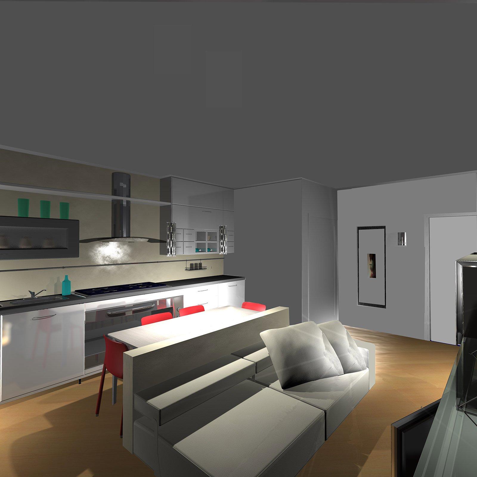 Dall 39 ingresso un living con cucina pianta e prospetti in for Cucina living