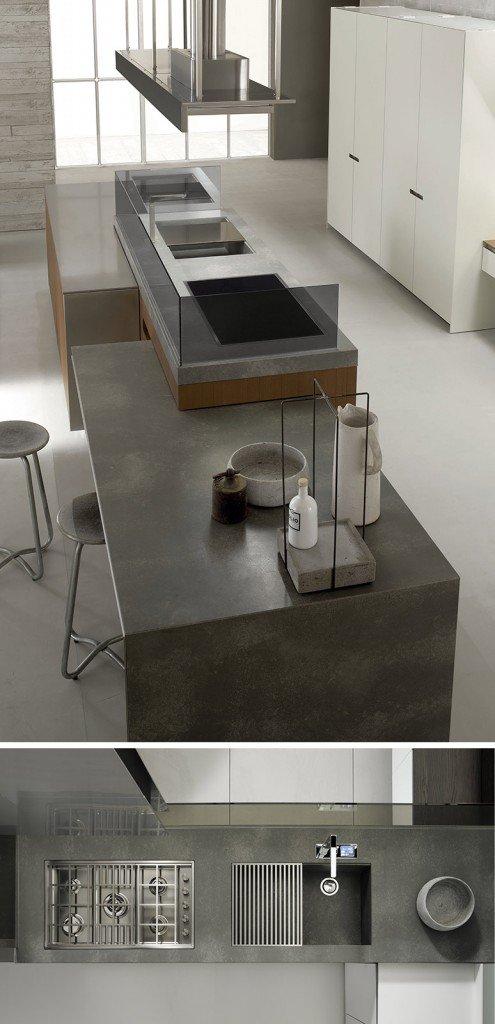 Protagonisti cemento marmo e lamiere cose di casa for Piano cucina in cemento