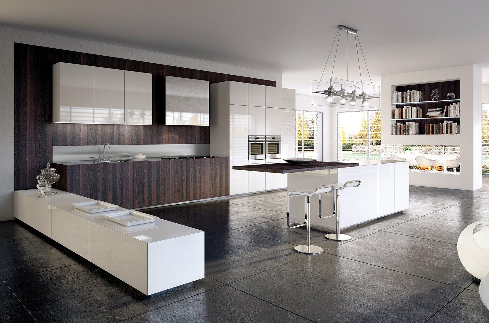 Cucine con ante lisce stile contemporaneo cose di casa - Cucina con penisola centrale ...