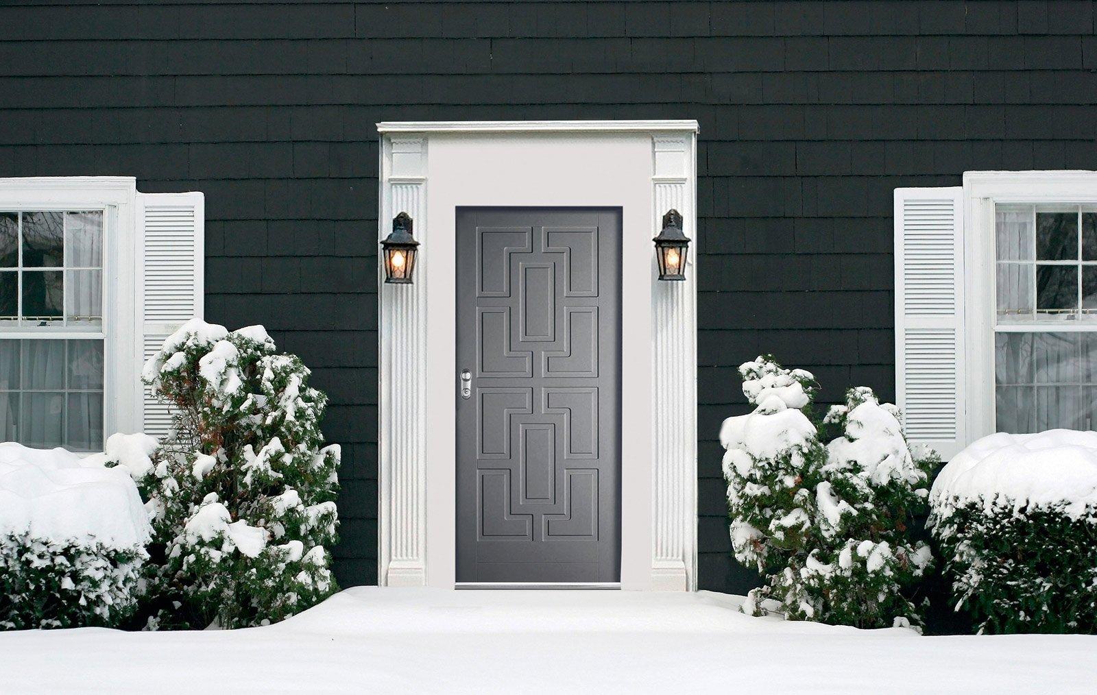 Esterno Casa Grigio: Casa moderna con la porta rossa e l esterno ...