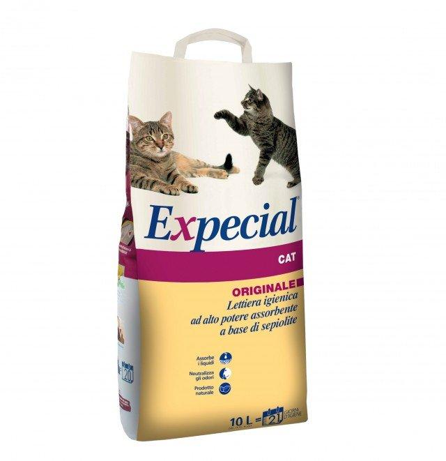 Expecial Cat Originale 10 L (6,25 kg) a base di sepiolite naturale, è un prodotto 100% naturale ad alto potere assorbente, in grado di trattenere efficacemente i cattivi odori che possono ristagnare nell'ambiente. Il prodotto non solo preserva una migliore igiene dell'ambiente, ma favorisce il riutilizzo della lettiera da parte del gatto. In vendita esclusiva presso Arcaplanet. Prezzo 4,40 euro.  www.arcaplanet.it