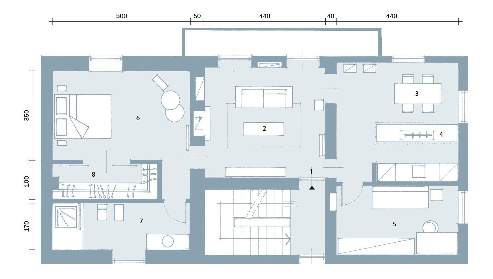 86 mq interni tra passato e presente cose di casa for Casa moderna pianta