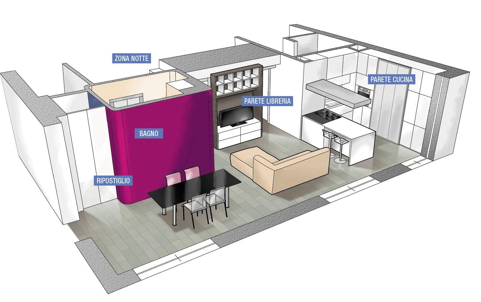 Suddivisioni ottimizzate per la casa di meno di 100 mq for Planimetrie della casa senza garage