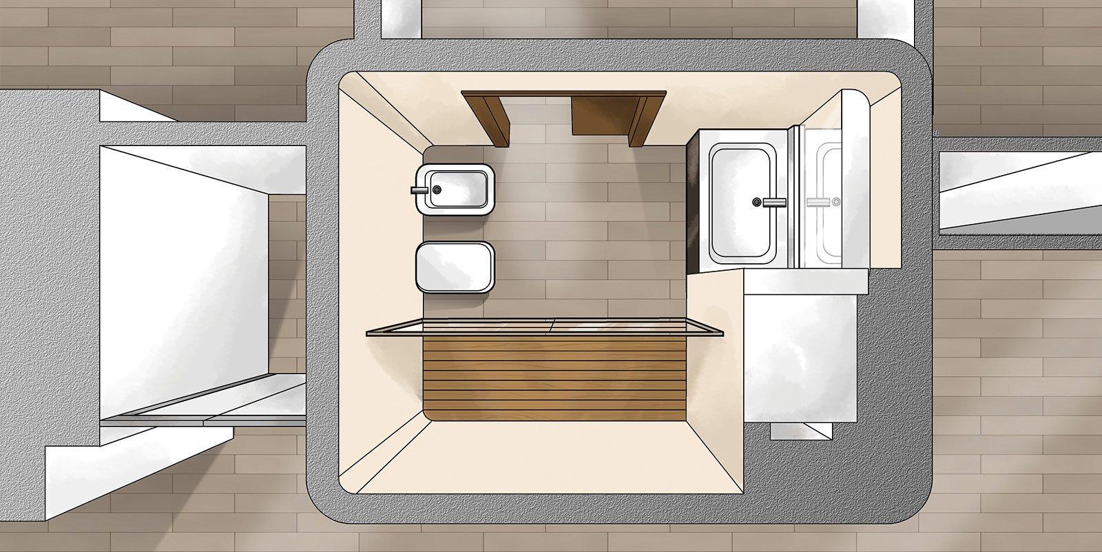 Suddivisioni ottimizzate per la casa di meno di 100 mq cose di casa - Progetto bagno 2 mq ...
