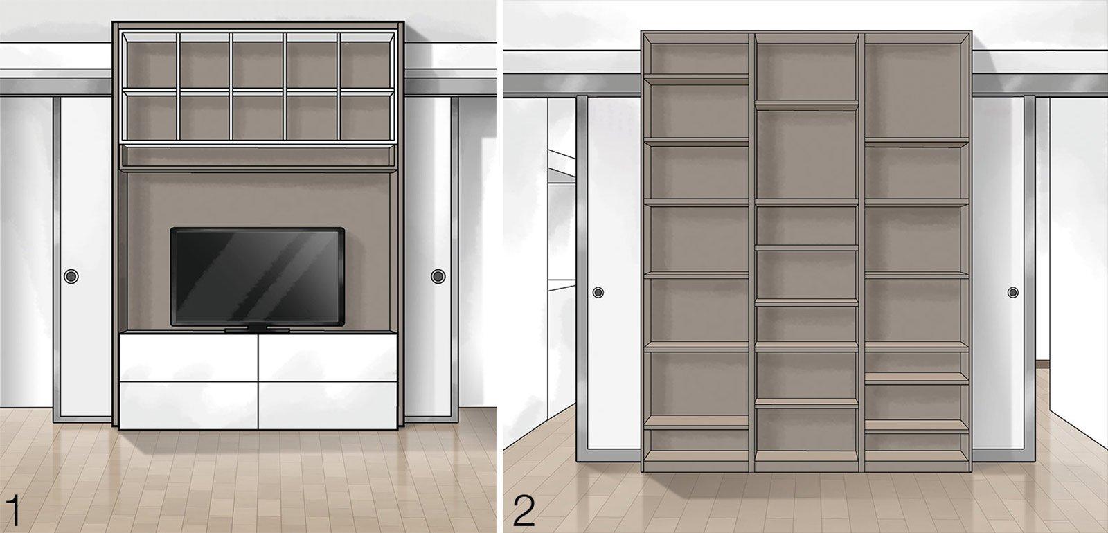 Suddivisioni ottimizzate per la casa di meno di 100 mq cose di casa - Libreria per cucina ...