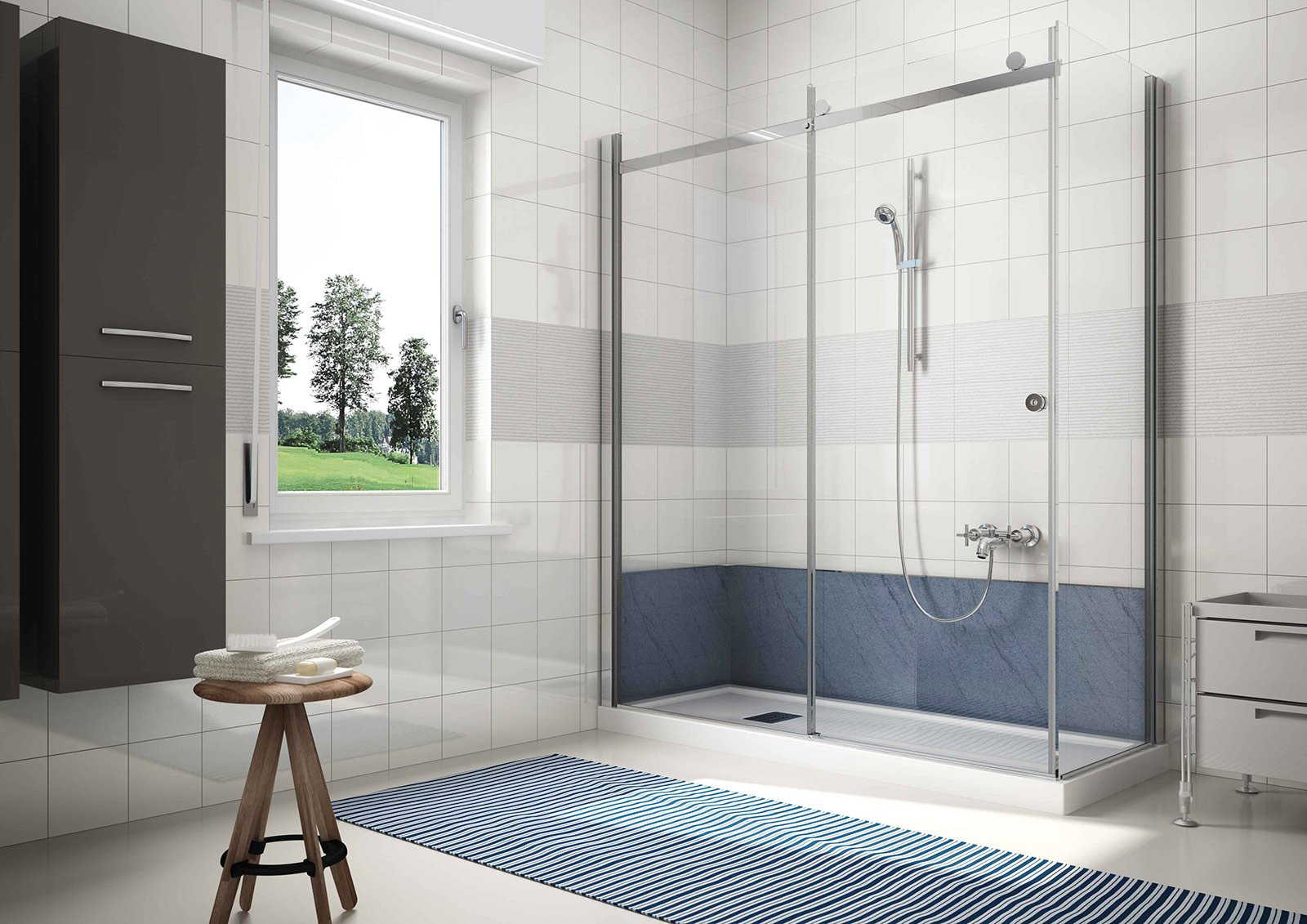 Tende per porte scorrevoli porta nuova di arrivo stampato for Pannelli doccia bricoman