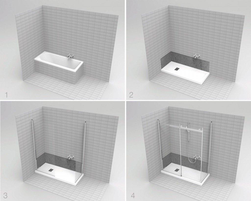 Il sistema G-magic di Grandform offre varie soluzioni per sostituire in 8 ore la vasca con una doccia: gli installatori rimuovono e smaltiscono la vasca, posizionano il piatto doccia, istallano i pannelli di rivestimento e i vetri del box doccia e infine fissano le finiture. È disponibile in diverse soluzioni, per esempio con la sostituzione della rubinetteria esistente con un modello termostatico e asta doccia con soffione zenitale e doccetta a mano saliscendi (soluzione G-magic Easy Plus) o con la possibilità di installare una doccia più piccola e utilizzare lo spazio rimanente per un mobile (soluzione Easy 170 H). Prezzo su preventivo. www.gmagic.it