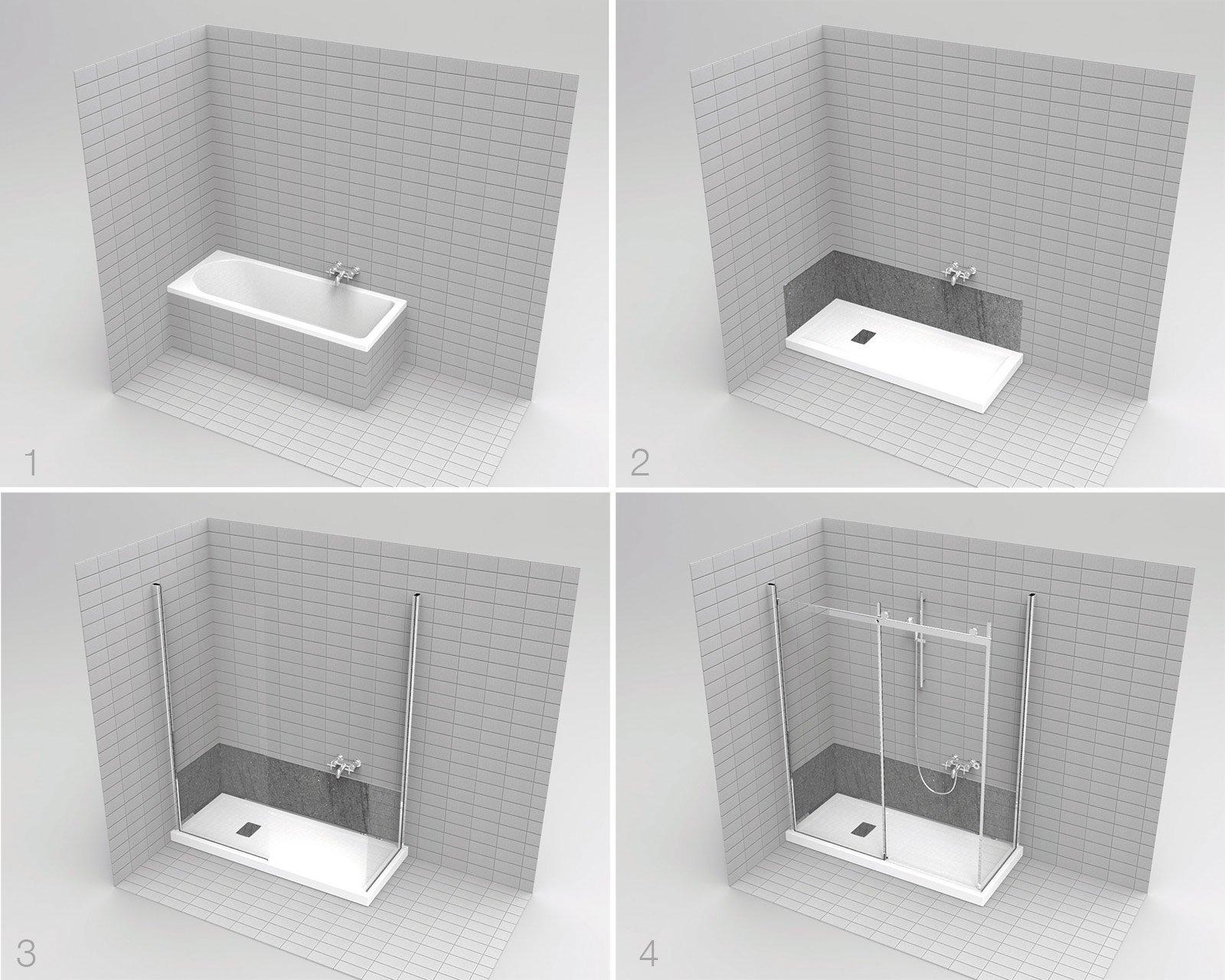 La vasca diventa doccia in poco tempo e senza troppi - Soluzioni vasca doccia ...