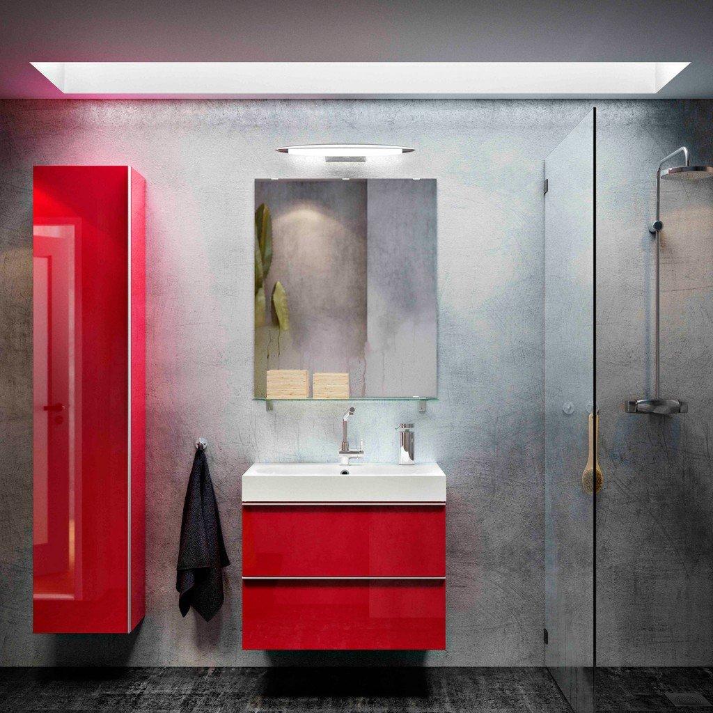 È disponibile in altre cinque finiture il mobile lavabo rosso lucido con due cassetti GODMORGON/BRÅKIVEN di Ikea. Può essere completato da mobile alto nella stessa finitura. Misura L 80 x P 49 x H 68 cm e costa 299 euro. Il mobile alto misura L 40 x P 30 x H 192 cm e costa 195 euro. www.ikea.it