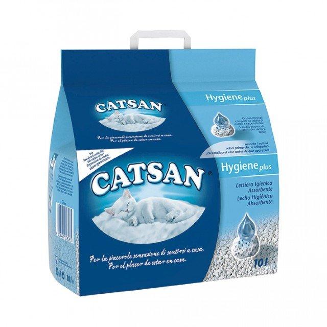 La lettiera igienica Catsan® è 3 volte più efficace nel prevenire gli odori sgradevoli. Infatti gli speciali micropori che compongono ogni granello le permettono di agire come una spugna assorbendo i liquidi, mentre i minerali presenti combattono la formazione dei batteri, lasciando la lettiera del gatto piacevolmente asciutta e pulita per molti giorni. E' disponibile nel formato da 10 Litri. Prezzo di base medio xx euro - www.catsan.it
