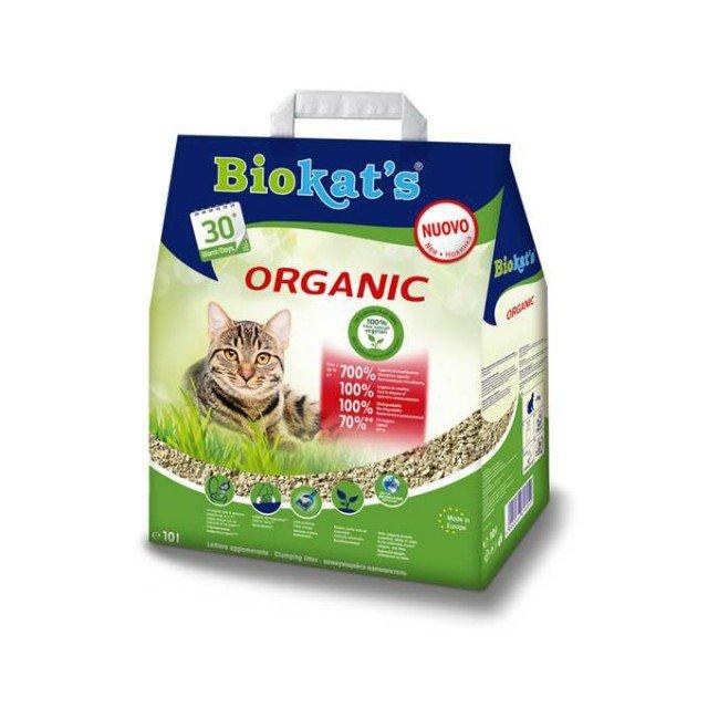 ORGANIC di Biokat's, è una lettiera agglomerante naturale, composta al 100% da fibre vegetali provenienti da coltivazioni europee sostenibili. Si tratta di  fibre naturali non trattate ad alto potere assorbente, che agiscono come una vera e propria spugna. In questo modo i liquidi vengono assorbiti completamente e grazie alla struttura tubolare delle fibre vegetali si formano zolle in cui vengono intrappolati sia i liquidi che, in modo duraturo, gli odori. Poi si rimuovono facilmente ogni giorno solo le zolle gettandole senza rischi nel W.C, mentre lo strato base utilizzato per la toilette del gatto può rimanere almeno 4 o 6 settimane. Prezzo 8,90 www.biokats.info/it