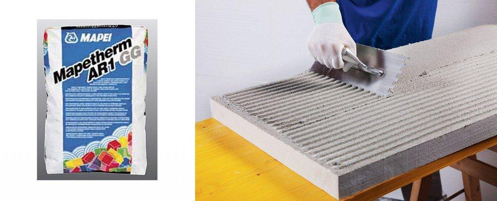 La malta cementizia monocomponente serve a incollare e a rasare i pannelli termoisolanti nei sistemi a cappotto. Mapetherm AR1 GG di Mapei, www.mapei.it,