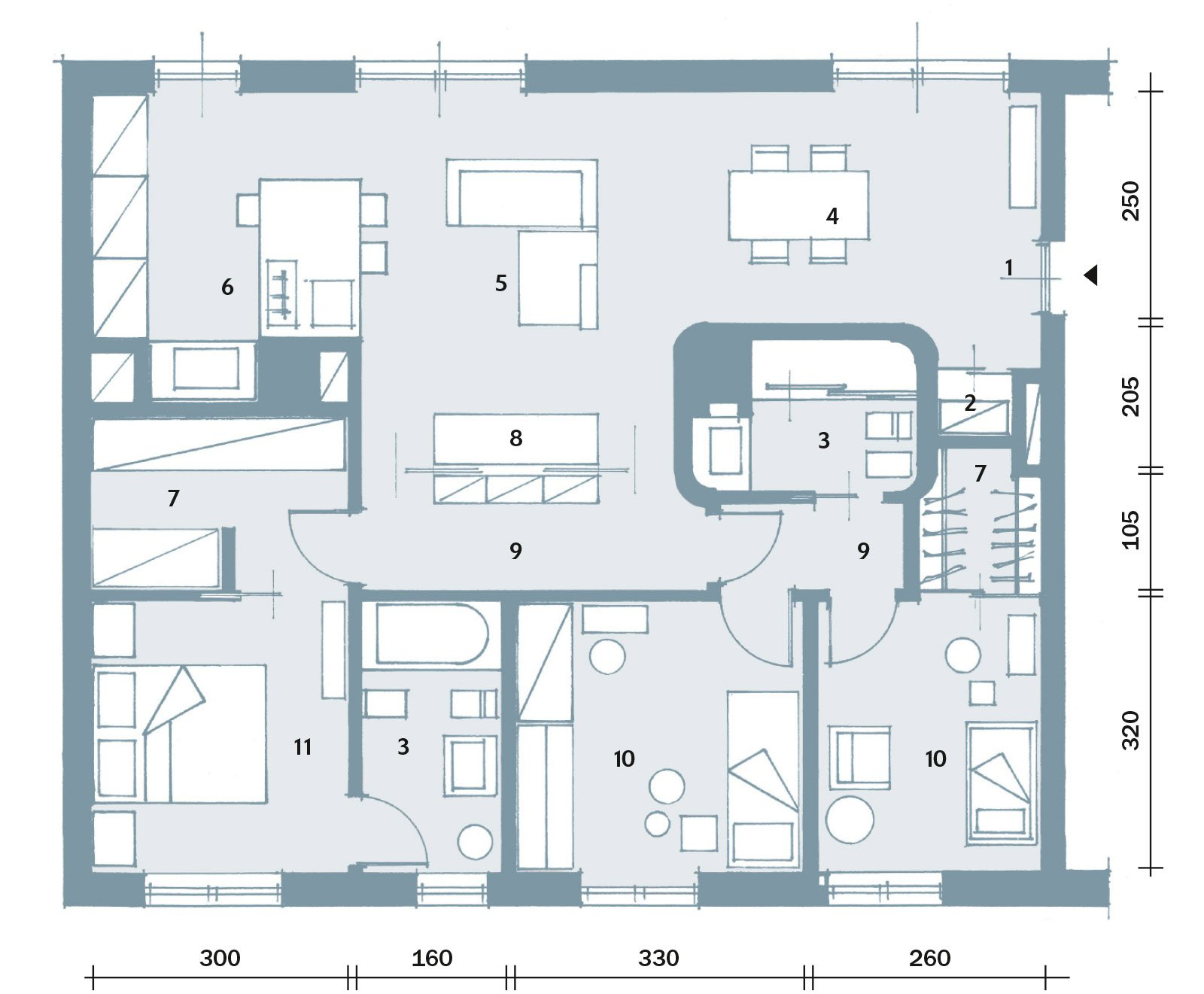 Suddivisioni ottimizzate per la casa di meno di 100 mq for 6 piani di casa con 4 bagni