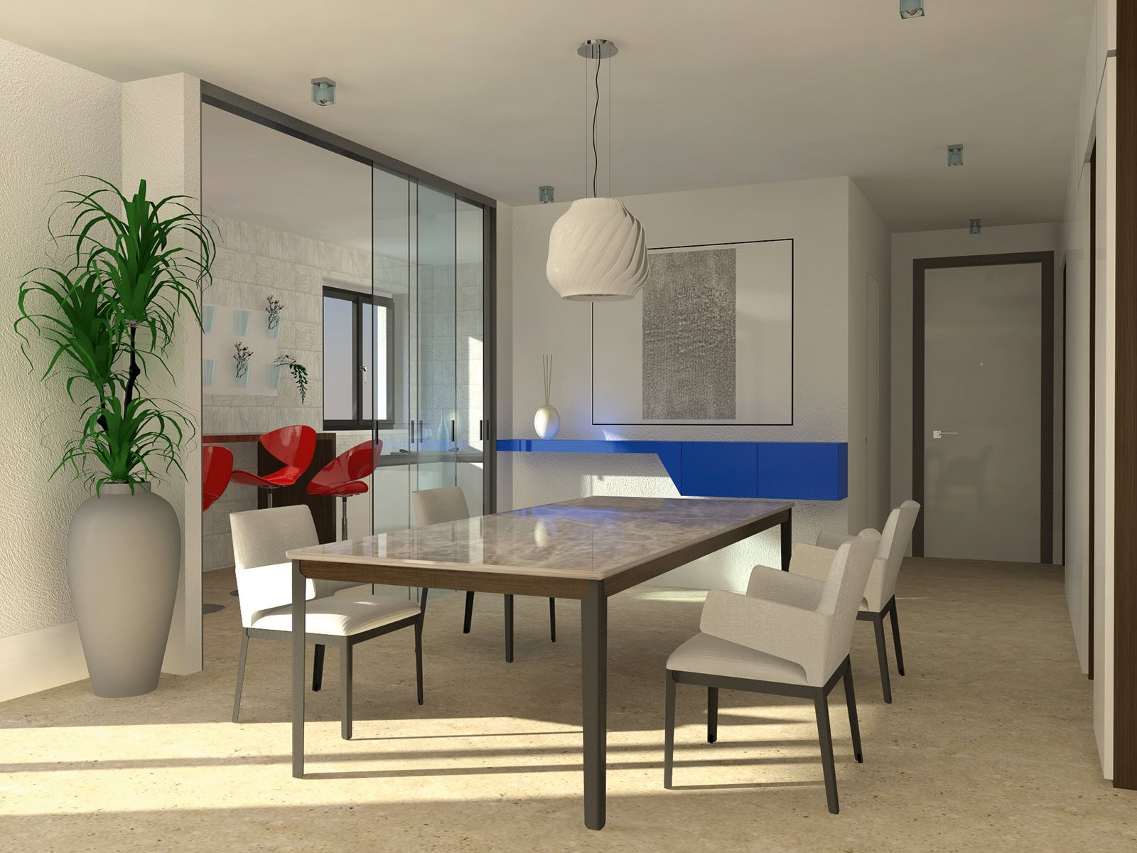 Una cucina parzialmente schermata cose di casa - Cucina con vetrata ...
