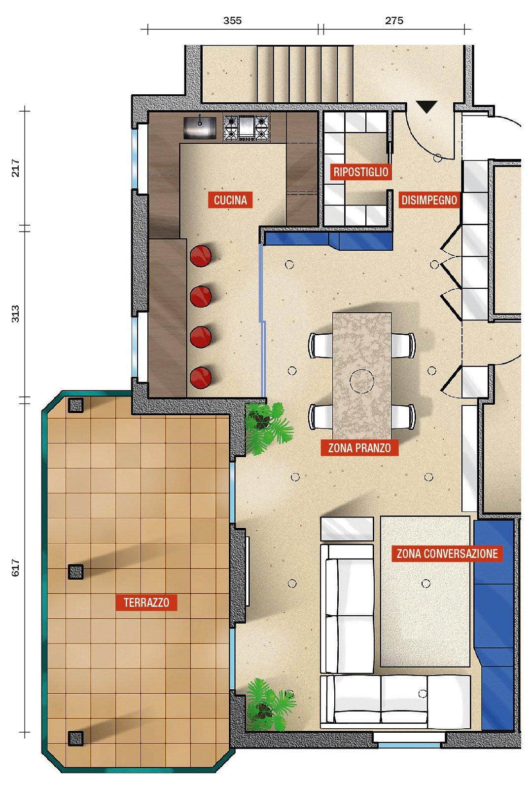 Cucina E Salone Comunicanti : Una cucina parzialmente schermata cose di casa